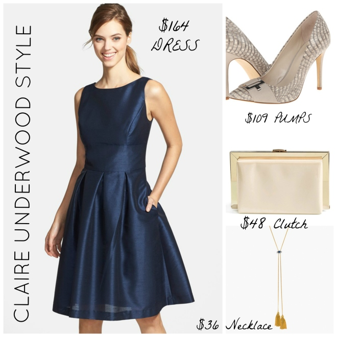 Claire Underwood Navy Dress Style